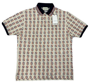 $1,000 Gucci Cotton Polo Shirt with Interlock G Print Size XXL, Made in Italy