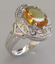 9 KT di seconda mano Bianco Oro Ovale Citrino Anello di diamanti SCUDO Dimensione N