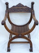 French Renaissance Revival Curule Throne Armchair Carved Wood 19th C