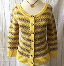 Roxy Diamond Yellow 3 4 Sleeve Cardigan Sweater Medium d54544d26