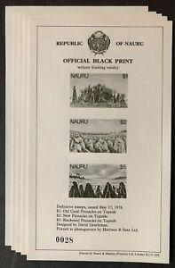 Nauru #179,180,181 Official Black Print 5 Sheets of 3 1978 MNH-
