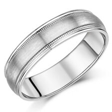 Palladium Ring Matt & Polished Milgrained Wedding 6mm Band