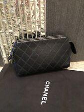 Authentic CHANEL CC Logo Vintage Pouch Hand Bag Leather Black