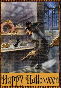 Cards by Colette ''Halloween Witch Cat Shopping'' Greeting Card351