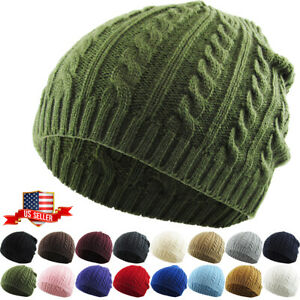 Cable Knit Beanie Solid Cuffless Trendy Stretchy Winter Hat Ski Cap