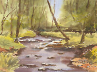 John A. Case - Contemporary Watercolour, River Landscape