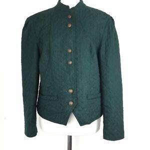 Vtg HMC Forest Green Quilted Jacket Jane Austen Steampunk Cosplay Virgin Wool 10