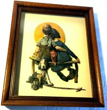 """Vintage layered paper Norman Rockwell layered shadow box picture  Framed 11""""x 9"""""""
