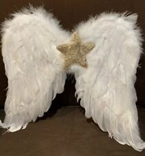 ANGEL WINGS WHITE FEATHERS SEQUINS GOLD STAR DRESS UP COSTUME SUPER CUTE!!