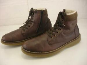 Women's 10 10.5 sz 41 Rieker Brown Leather Ankle Boots Faux Fur Lined Waterproof