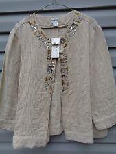Chico's Fresh Egyptian Edeleane Linen Jacket w Bling & Enbroidery Size 2 Medium