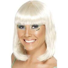 Womens Party Wig Blonde Short Blunt Fringe Fancy Dress Beauty Model Bob Shoulder