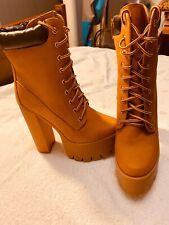 Women Bumper Platform Work Chunky Heel Boot Size 8 Timberlands Work Boot Style