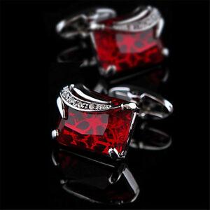 Luxury Red Crystal Cufflinks Mens Silver Tone Cuff Link For Wedding Groom Shirts