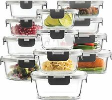 24-Piece Superior Glass Food Storage Containers Set - Newly Innovated Hinged BPA