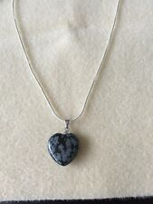 Sterling Silver Necklace With Obsidian Heart Pendant semi precious gemstone Luck