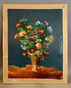 Signed SONA 1950s Italian Impressionist Oil on Canvas - Floral Bouquet unframed