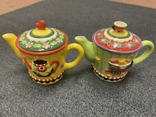 Mary Engelbreit Mini Teapot Candle Lot Of Two 2003 Hearts Flowers Stars