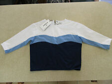 Women's STUSSY Size 10 AU Cropped Top Blue & White Brand New Striped Light Jumpr