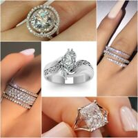 Elegant Women Jewelry 925 Silver Rings White Sapphire Wedding Rings Size 5-10