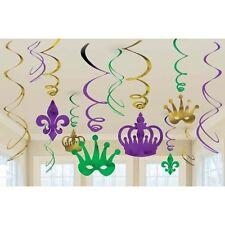 Party Supplies Mardi Gras Hanging Swirls Pack of 6