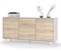 Aparador buffet 3 puertas estilo nordico blanco y roble de salon comedor 154x75
