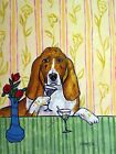 Basset hound AT THEMARTINI BAR yellow  picture  DOG ART NOTE CARDS