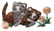 """#4399 4 1/2""""x2 3/8"""" Kitten Cat & Flower Embroidery Iron On Applique Patch"""