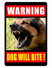WARNING DOG  Sign Keep Criminals Away DURABLE ALUMINUM SIGNS DOG BITE Design 182