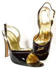 NIB! VALENTINA Black Patent Open Toe Sling Heels 40 9M