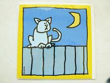 Biglietto + lettera per auguri congratulazioni ecc Tema Gatto e luna. Nuovo!