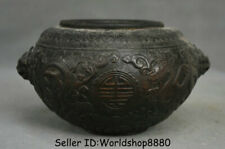 """8.4"""" Marked Antique Old Chinese Bronze Dynasty Dragon Beast Head Pot Jar Crock"""