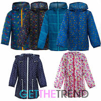 Girls Boys Raincoat Kids Printed Rain Hooded Mac Showerproof Kagool Kag Coat