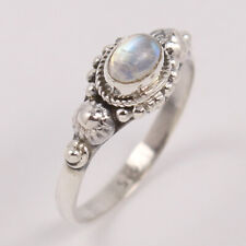 Rainbow Moonstone Ring 925 Sterling silver Womens Boho style ring Size 3 to 11