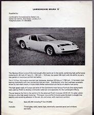 Lamborghini Miura P400 S 1969-70 UK Market Leaflet Sales Brochure