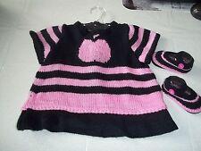 ensemble robe et chaussons bébé -0/3 mois- tricot fait main-