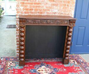 French Antique Dark Oak Renaissance Fireplace