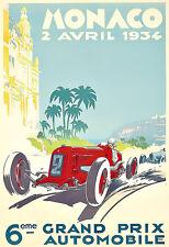 Monaco Grand Prix Auto Automobile Car Race 1934  Art Poster Print