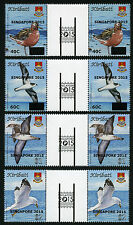 Kiribati 2015 Vögel Birds Aufdruck Singapore Zwischenstegpaare Postfrisch MNH