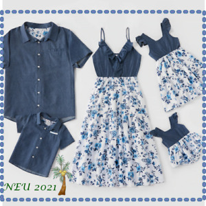 Mutter Tochter Sohn Vater Sommer Frühling 2021 Baumwolle Kleid Familie Denim