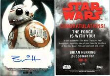 2017 Star Wars The Last Jedi Auto Autograph Brian Herring as Bb-8 A-Bh 1291