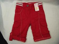 Bnwt Baby Girls Sz 000 Designer Bqt Brand Smart Red Roll Leg Cargo Style Jeans