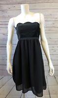 Womens Limited Edition Black Velvet Sleeveless Scalloped Cut Dress Size 6