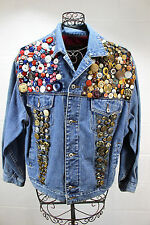 PRES DE CHAMONIX Vintage Blue Denim Jean Assorted Buttons Embellished Jacket L