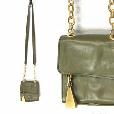 Americana by Sharif green leather small crossbody bag gold accents