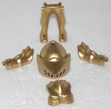Armor Legs Helmet Golden Shiny Playmobil Knight Figurines Construction Pieces