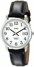 Timex Mens Easy Reader Date Leather Strap Watch Black/Silver-Tone/White