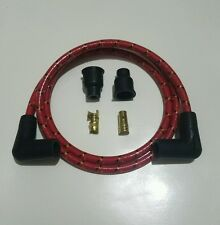 """New listing 40"""" 8mm Old School Vintage Braided Cloth Red Black Yellow Spark Plug Wire Kit"""
