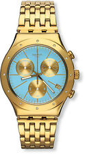 Swatch YCG413G Turchesa Blue Dial Gold Tone Stainless Chronograph Women's Watch