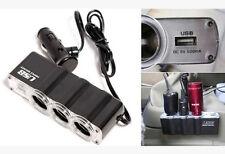1-to-3 Car Cigarette Lighter Socket 12V Spliter USB Plug Outlet Car/Vehicle/Boat